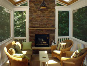 triangle screened porch construction